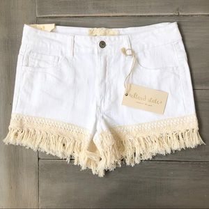 Altar'd State White and Fringe Jean Shorts